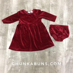 Red Velvet Dress with Bloomers size 6/9M