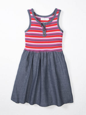 bright red pink and navy striped tank dress with denim skirt