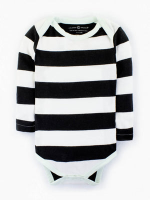 black and white striped infant bodysuit with mint colored trims