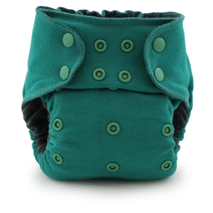 fitted cloth diaper in green
