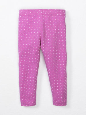 Pink baby leggings with white polka dots
