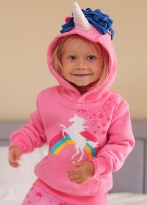front side pink unicorn hoodie with little pink stars and a blue mane of yarn
