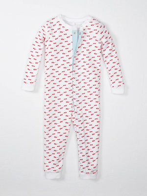 tiny red sunglasses printed on white fabric baby pajamas