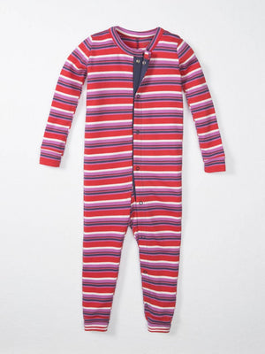 red pink and navy striped pajama one piece for babies and toddlers