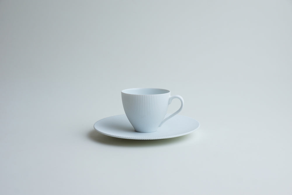 White blast demitasse cup and saucer
