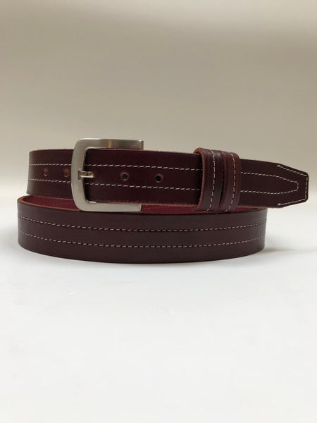 Men's Burgundy Leather Belt with Silver Tone Buckle 44A3