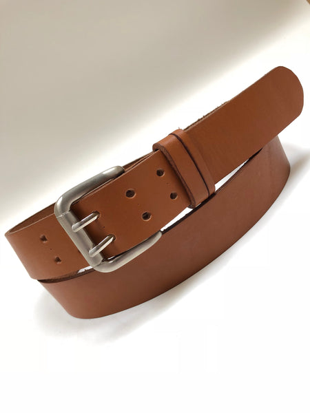 Men's Tan Leather Belt with Smooth Silver Tone Buckle 44A5