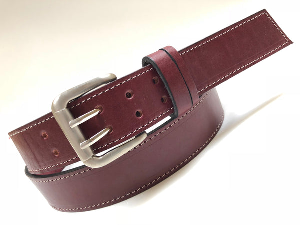 Men's Burgundy Leather Belt with Silver Tone Buckle 44A10