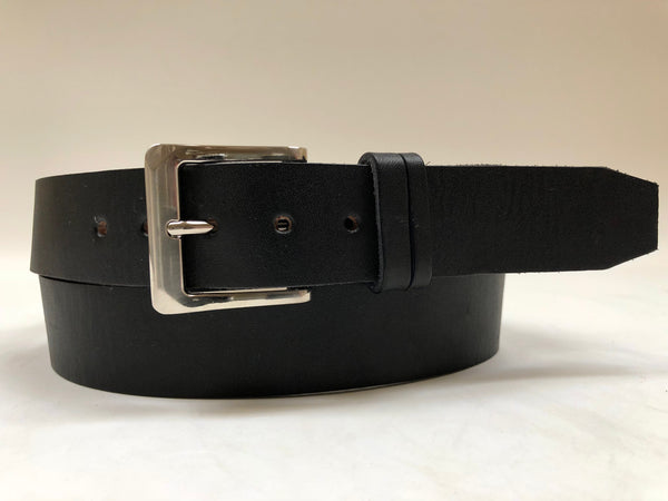 Men's Black Leather Belt with Smooth Silver Tone Buckle 42A4