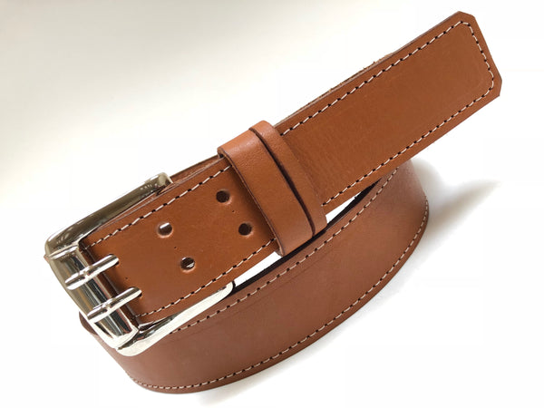 Men's Tan Leather Belt with Silver Tone Buckle 42A5