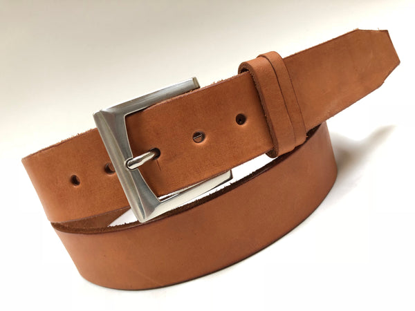 Men's Natural Leather Belt with Smooth Silver Tone Buckle 42A6