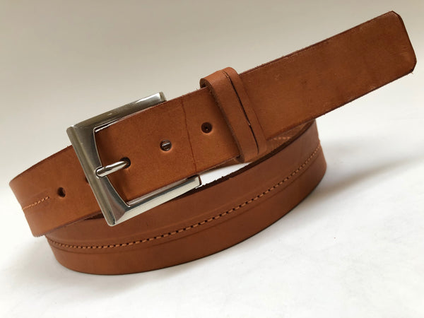 Men's Natural Leather Belt with Silver Tone Buckle 42A7