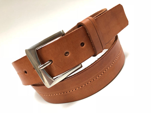 Men's Tan Leather Belt with Silver Tone Buckle 38A1