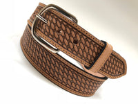 Men's Natural Leather Basket Weave Belt with Silver Tone Buckle 38A3