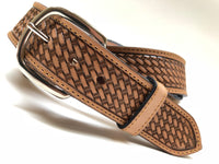 Men's Natural Basket Weave Leather Belt with Silver Tone Buckle 38A5