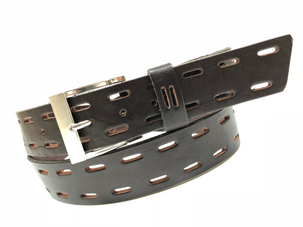 Men's Dark Brown Leather Belt with Silver Tone Buckle 38A7