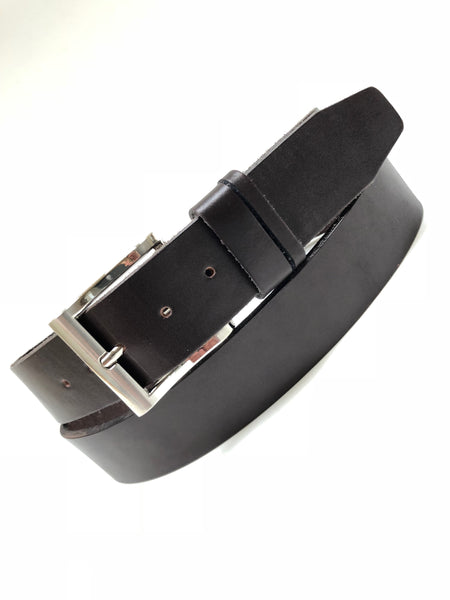Men's Dark Brown Leather Belt with Smooth Silver Tone Buckle 38A11