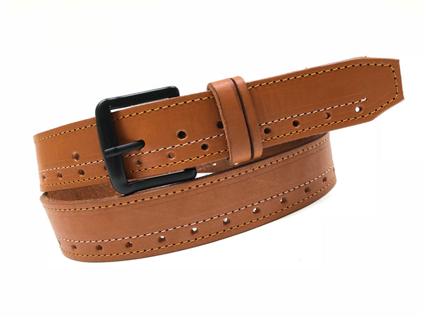 Men's Tan Leather Belt with Black Buckle 38A12