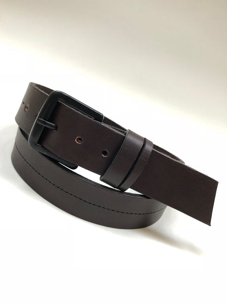Men's Dark Brown Leather Belt with Black Buckle 36A6