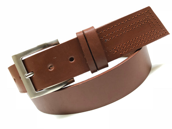 Men's tan leather belt with silver tone buckle 36A8