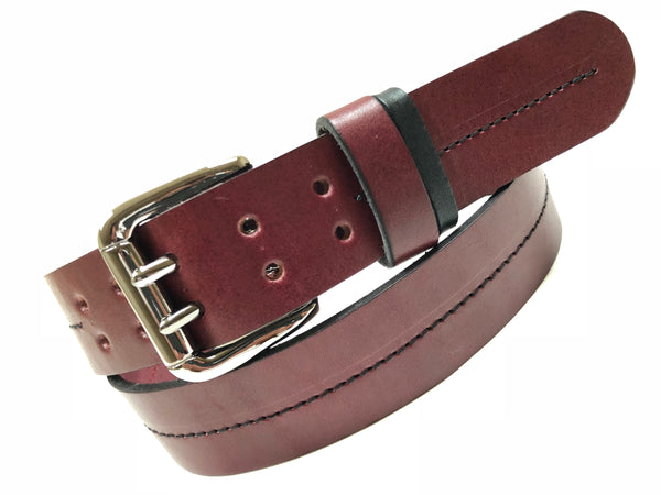 Men's Burgundy Leather Belt with 2 Prongs and Silver Tone Buckle 36A9