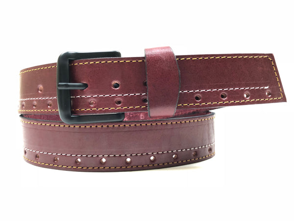 Men's Burgundy Leather Belt with Black Buckle 36A12