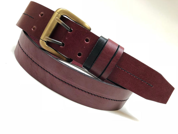 Men's Burgundy Leather Belt with 2 Prongs Antique Brass 34A1