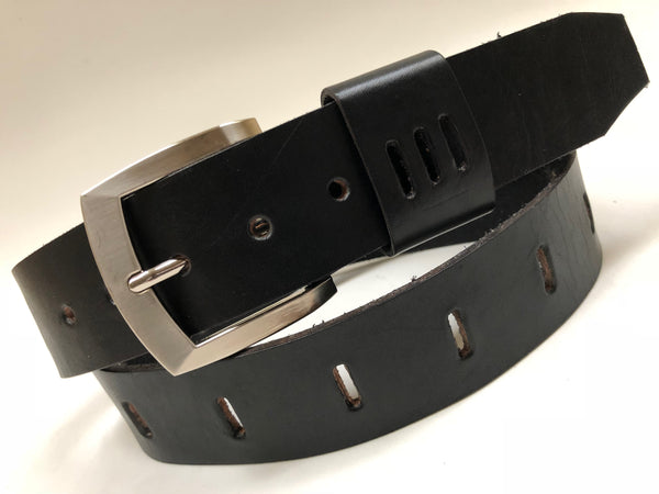 Men's Black Leather Belt With Silver Tone Buckle 36A11
