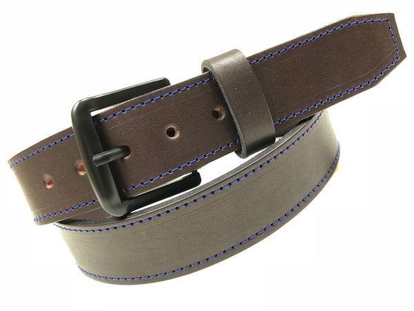 Men's Brown Leather Belt with Black Tone Buckle 34A5
