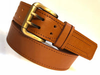 Men's Tan Leather Belt With 2 Prongs Gold Brass Buckle 30A2