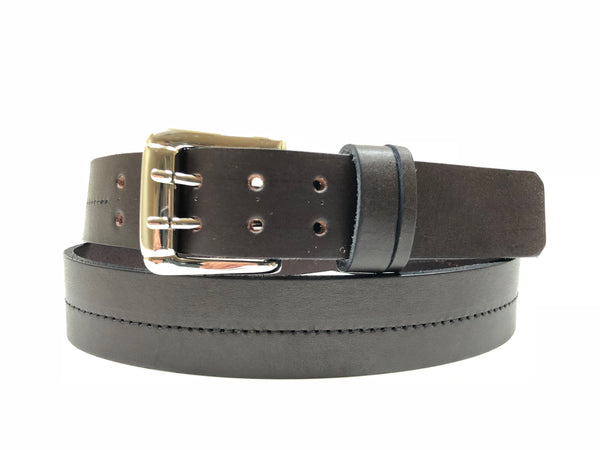 Men's Dark Brown Leather Belt with Silver Tone Buckle 40A2