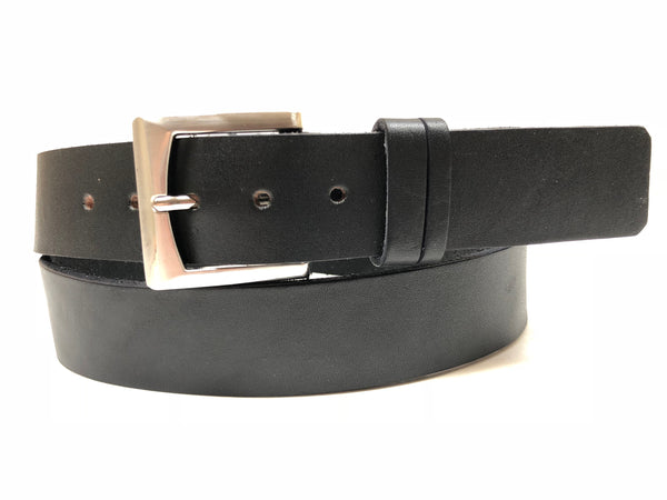 Men's Black Leather Belt with Smooth Silver Tone Buckle 40A3