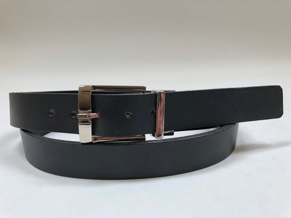 Men's Black Leather Belt with Silver Tone Buckle 46Z1
