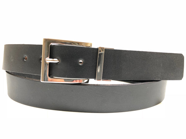 Men's Smooth Black Leather Belt with Silver Tone Buckle 44Z5