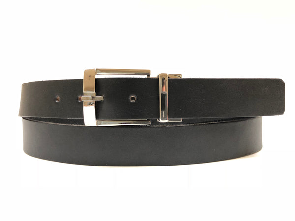 Men's Black Leather Belt with Silver Tone Buckle 44Z1