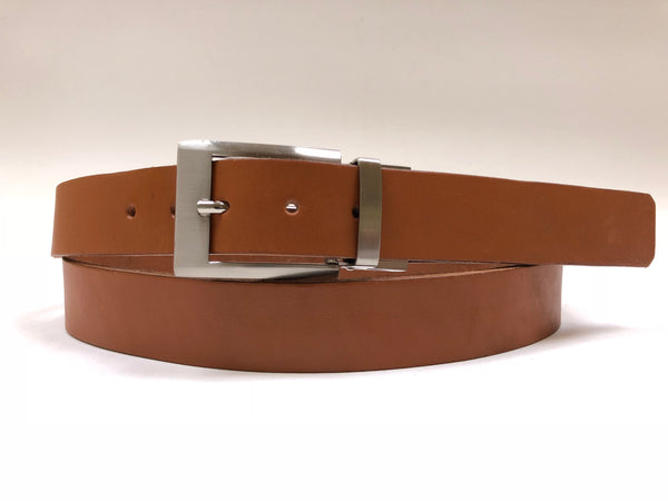 Men's Tan Leather Belt with Silver Tone Buckle 44Z2
