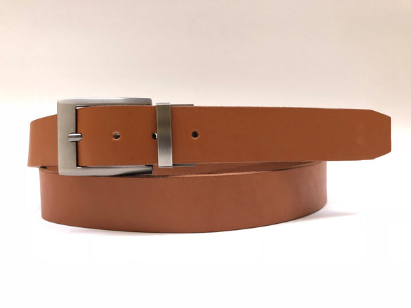 Men's Tan Leather Belt with Silver Tone Buckle 44Z4