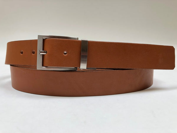 Men's Tan Leather Belt with Silver Tone Buckle 42Z5