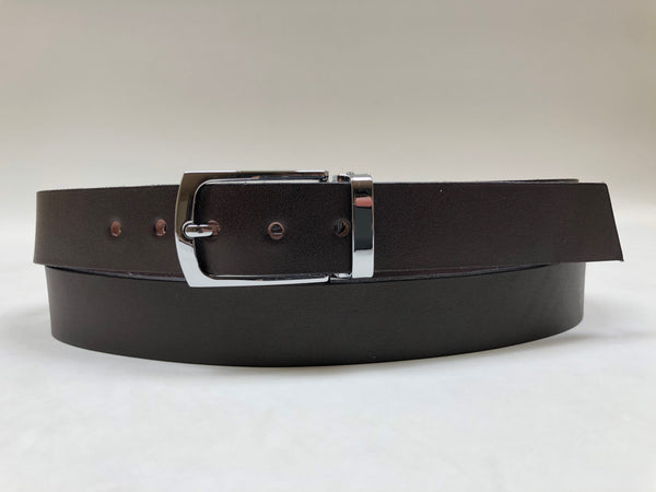 Men's Dark Brown Leather Belt with Silver Tone Buckle 42Z2
