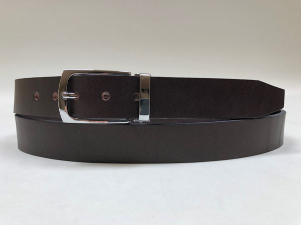 Men's Dark Brown Leather Belt with Silver Tone Buckle 42Z4