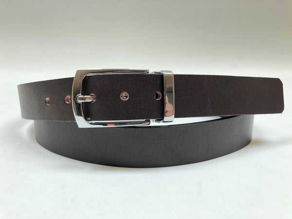 Men's Dark Brown Belt with Silver Tone Buckle 42Z3