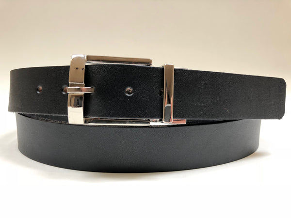 Men's Black Leather Belt with Silver Tone Buckle 42Z1