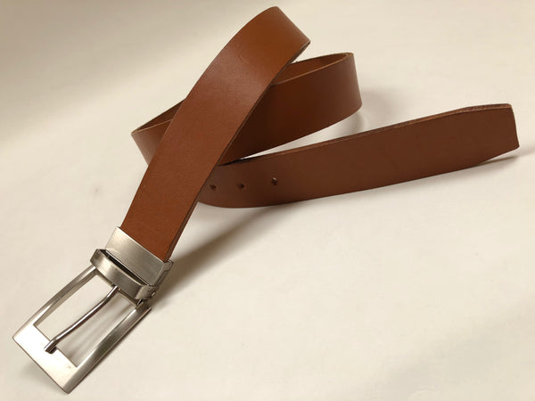 Men's Tan Leather Belt with Silver Tone Buckle 40Z4