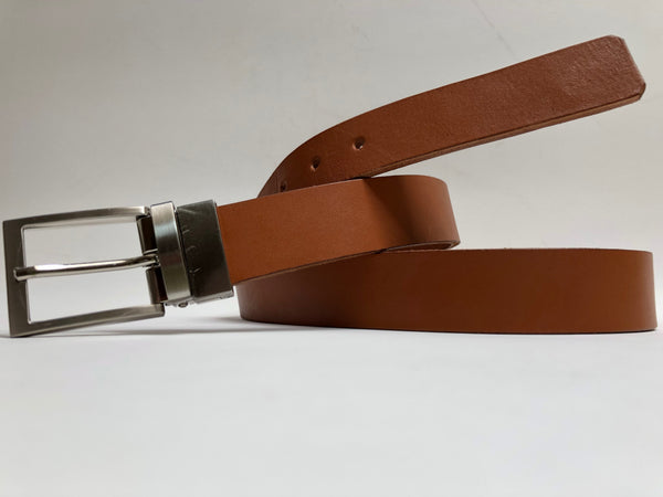 Men's Tan Leather Belt with Silver Tone Buckle 40Z1