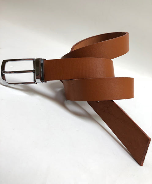 Men's Tan Leather Belt with Silver Tone Buckle 40Z2