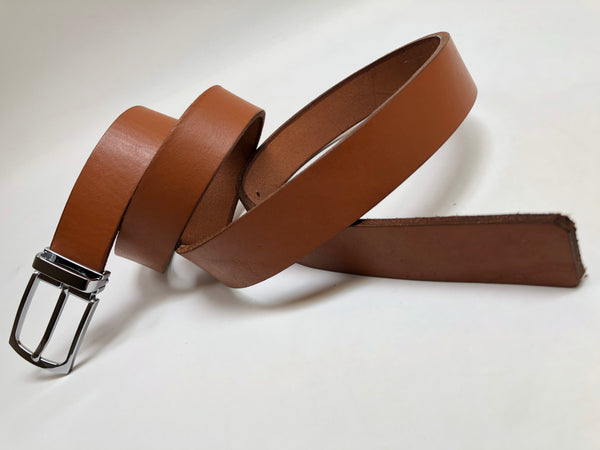 Men's Tan Leather Belt with Silver Tone Buckle 40Z5