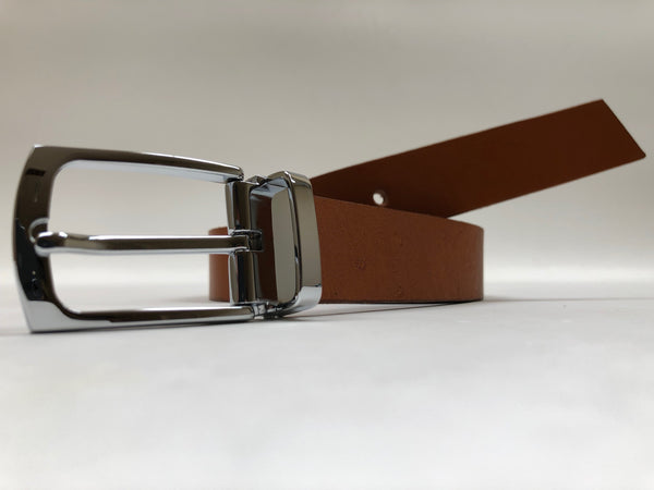 Men's Tan Leather Belt with Silver Tone Buckle 38Z1