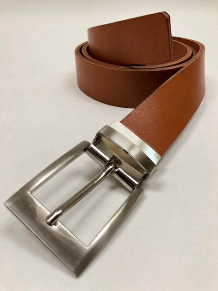 Men's Tan Leather Belt with Silver Tone Buckle 38Z3