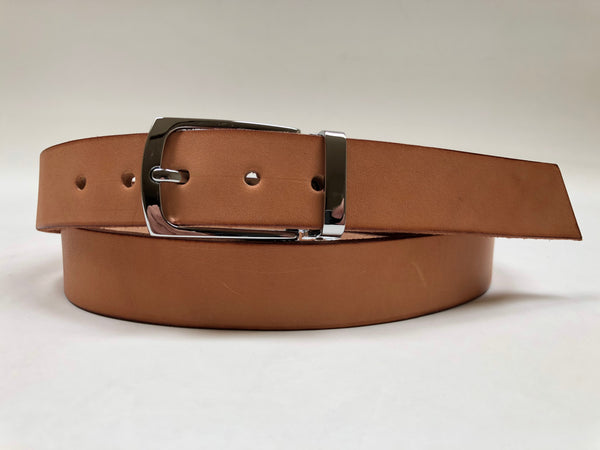 Men's Natural Leather Belt with Silver Tone Buckle 38Z4