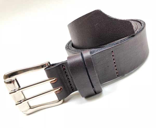 Men's Dark Brown Double Prong Leather Belt B1854